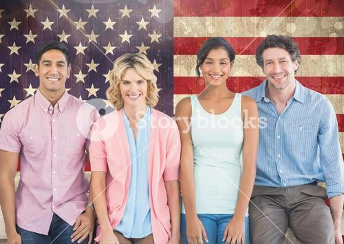 Business colleagues standing against american flag in background
