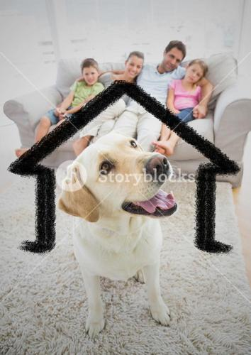 Home outline with dog and family at home
