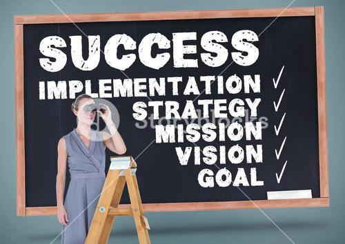 Woman on ladder looking through binoculars against business terms
