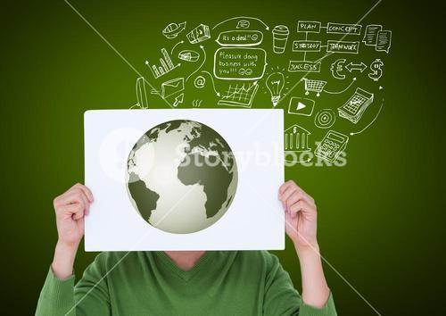Man covering his face with card showing globe against green background
