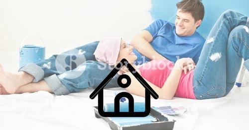 House icon with couple lying and interacting at home