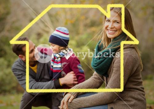 Home outline with happy family in park