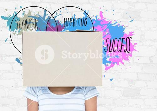 Woman with box on her head and business terms in background