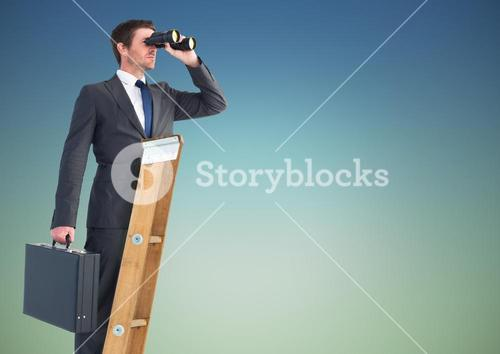 Businessman standing on success ladder and looking through binoculars against sky