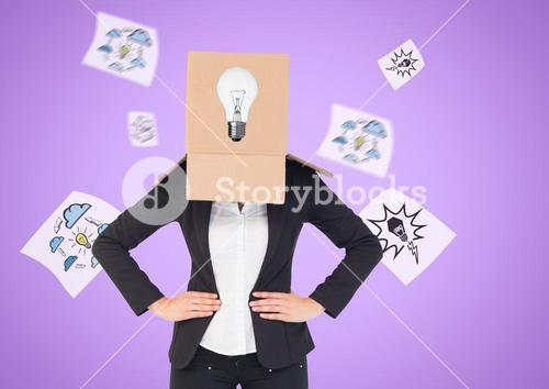 Conceptual image of businesswoman covering her face with cardboard box