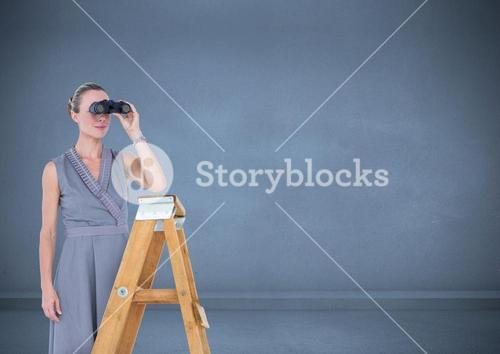 Female executive standing on success ladder and looking through binocular
