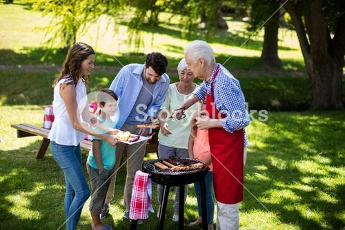 Multi generation family enjoying the barbeque in park