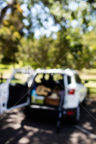 Guitar, fishing rod, picnic basket in car trunk on a sunny day