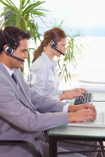 Hotline employees at work