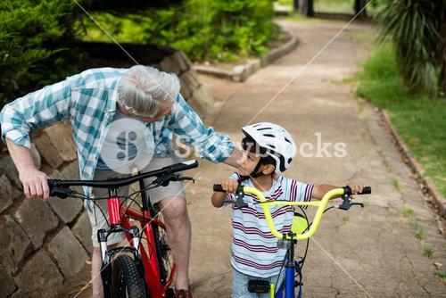 Grandfather and grandson standing with bicycle in park