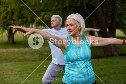 Senior couple exercising together
