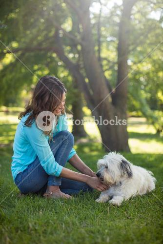 Woman with dog in park