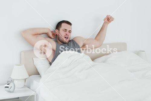 Man stretching his arms
