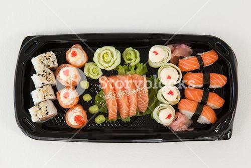 Assorted sushi set served in black box