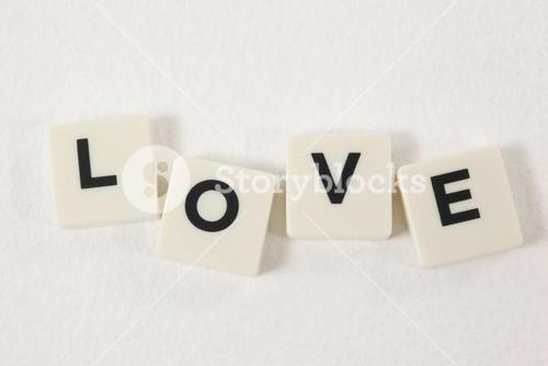 White blocks displaying love message