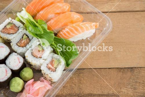 Sushi rolls with salmon