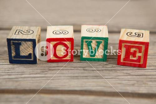 Blocks displaying love message