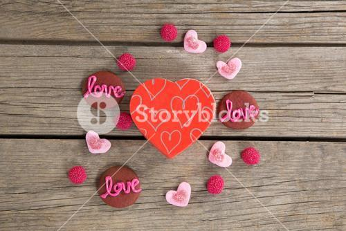 Cookies and confectionery displaying love message