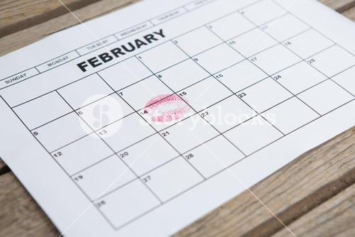 Lipstick mark on 14th february date of the calendar