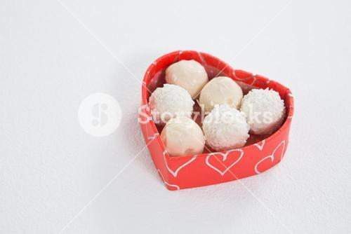 Desserts in heart-shaped box