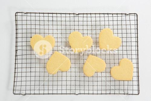 Close-up of heart shape cookies on cooling rack