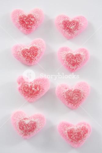 Heart shape confectionery on white background