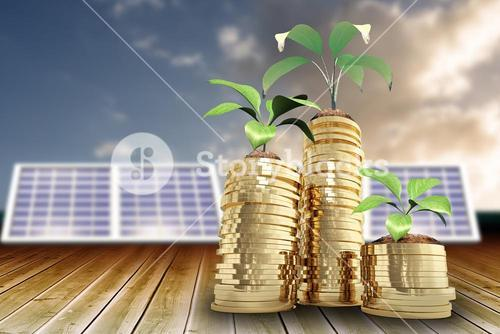 Composite image of low angle view of plants on piles of gold coins 3d