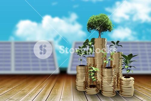Composite image of trees and plants on arrangement of gold coins 3d