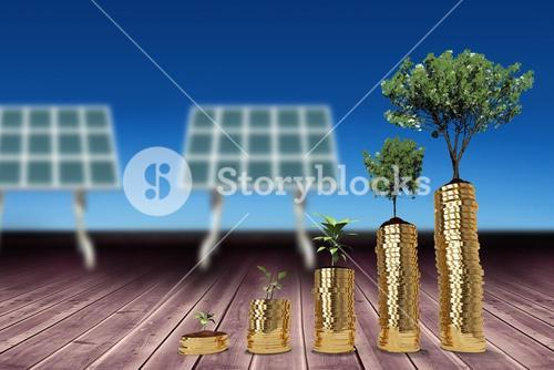 Composite image of tree and plant over gold coins 3d