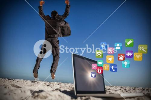 Composite image of victorious businessman jumping leaving his laptop 3d