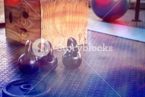 Kettlebells and wooden block