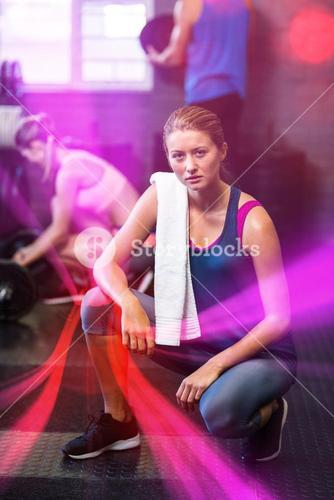 Portrait of serious woman in gym