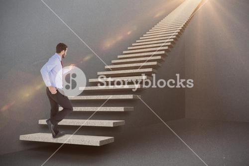 Composite image of unsmiling businessman in suit stepping 3d