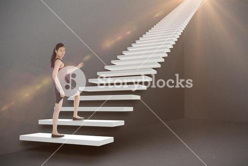 Composite image of businesswoman stepping up 3d