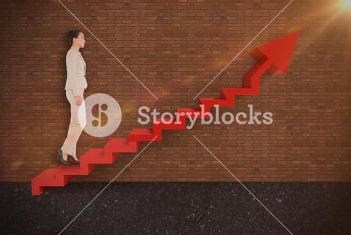 Composite image of unsmiling asian businesswoman walking 3d