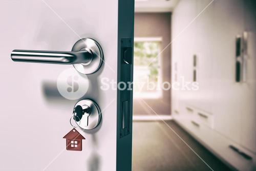 Composite image of digitally generated image of open door with house key
