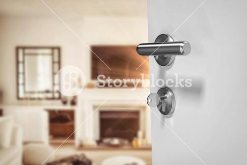 Composite image of closeup of doorknob and lock with key