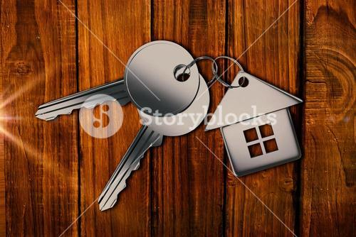 Composite image of metallic key with ring
