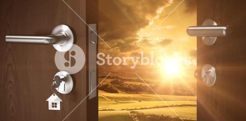 Composite image of digitally generated image of brown door with key