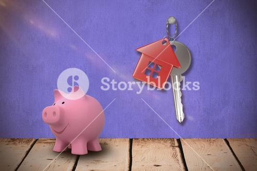 Composite image of close up of pink piggy bank 3d