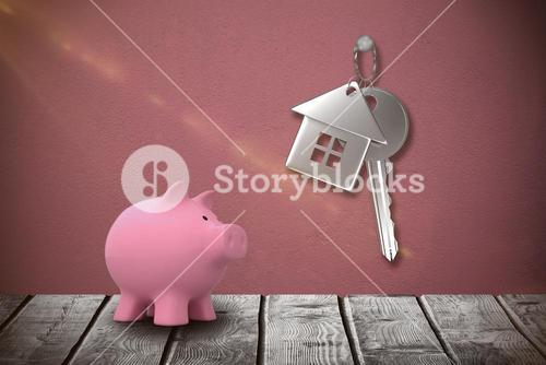 Composite image of piggy bank against white background 3d