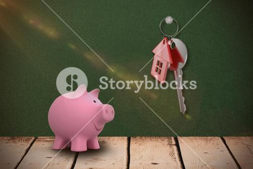 Composite image of close up pink piggy bank 3d