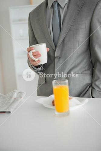 Portrait of a breakfast taken by a businessman
