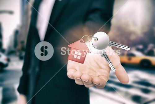 Composite image of metal keys with red home ring