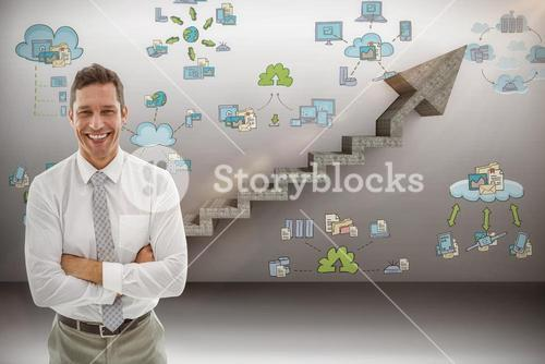 Composite image of happy businessman with arms crossed in office