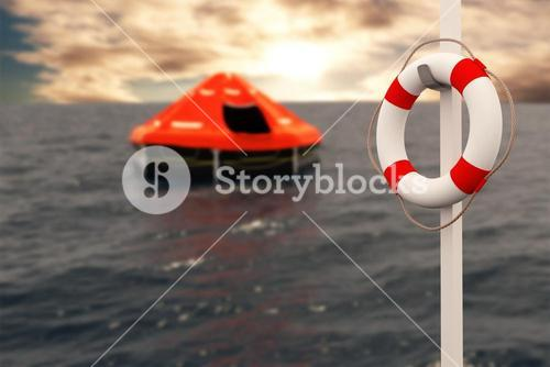 Composite image of digital image of life belt with rope hanging on pole 3d