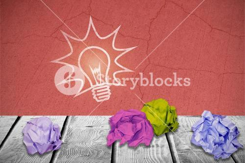 Composite image of digital image of crumpled paper ball 3d