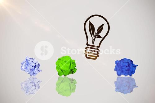 Composite image of graphic image of blank green crumpled paper 3d