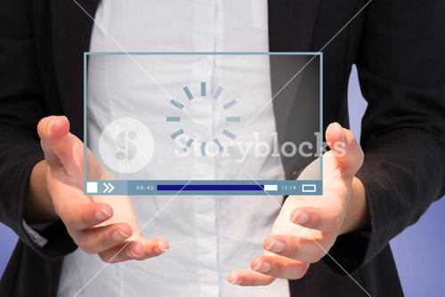 Composite image of businesswomans hands presenting 3d