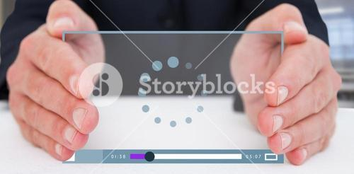 Composite image of businessman with hand out 3d